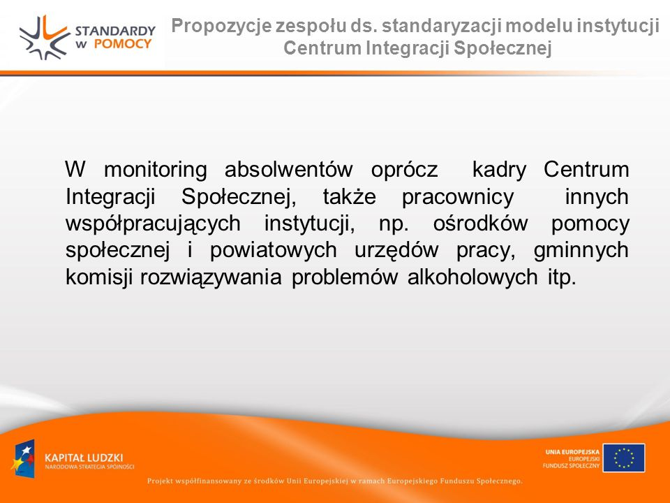 Propozycje zespołu ds. standaryzacji modelu instytucji Centrum Integracji Społecznej W monitoring absolwentów oprócz kadry Centrum Integracji Społeczn