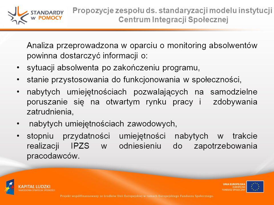 Propozycje zespołu ds. standaryzacji modelu instytucji Centrum Integracji Społecznej Analiza przeprowadzona w oparciu o monitoring absolwentów powinna