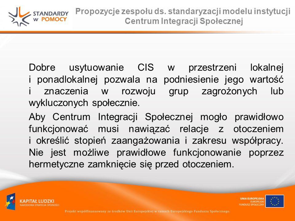 Propozycje zespołu ds. standaryzacji modelu instytucji Centrum Integracji Społecznej Dobre usytuowanie CIS w przestrzeni lokalnej i ponadlokalnej pozw