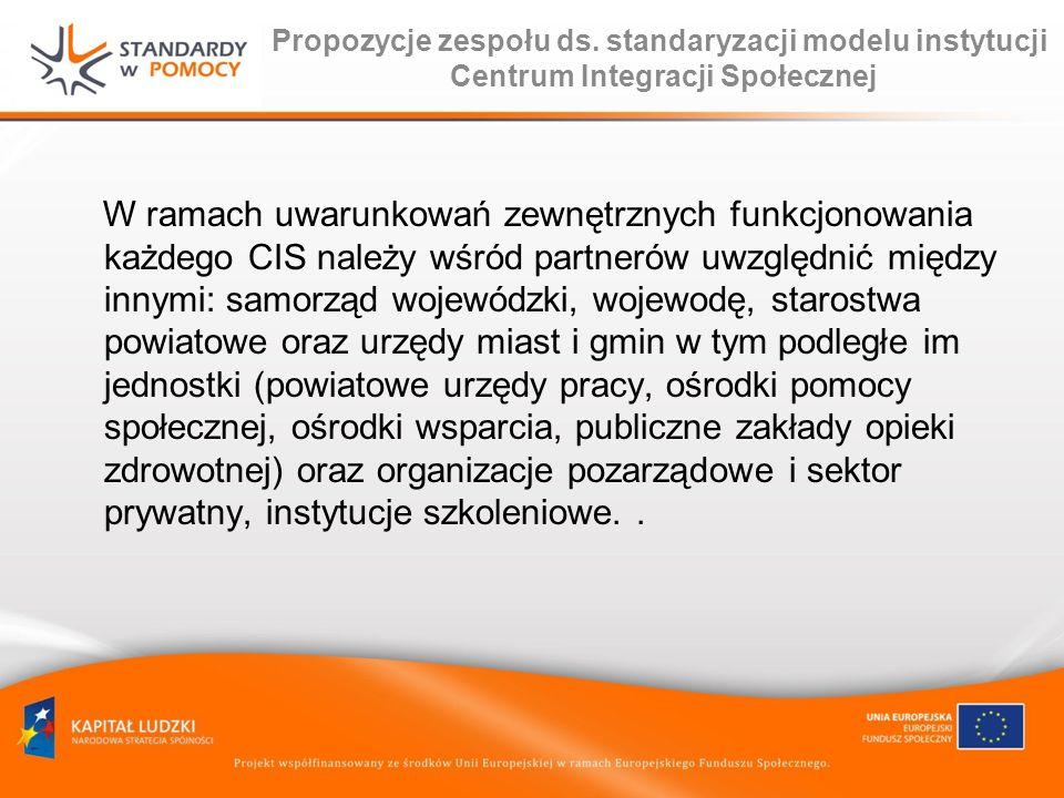 Propozycje zespołu ds. standaryzacji modelu instytucji Centrum Integracji Społecznej W ramach uwarunkowań zewnętrznych funkcjonowania każdego CIS nale