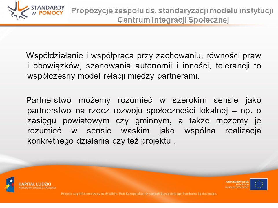Propozycje zespołu ds. standaryzacji modelu instytucji Centrum Integracji Społecznej Współdziałanie i współpraca przy zachowaniu, równości praw i obow