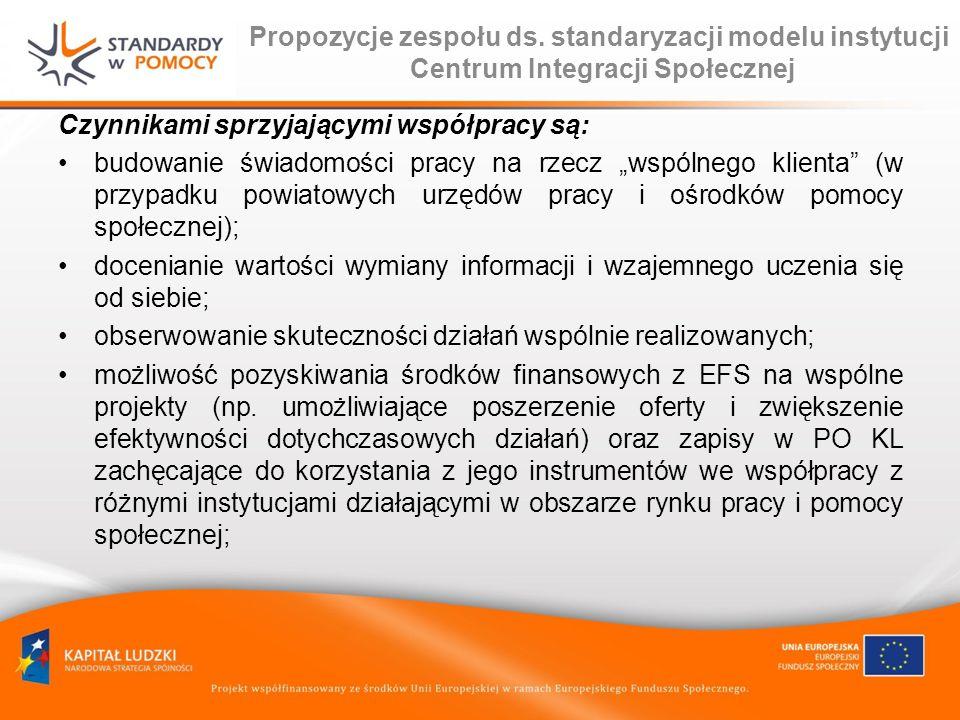 Propozycje zespołu ds. standaryzacji modelu instytucji Centrum Integracji Społecznej Czynnikami sprzyjającymi współpracy są: budowanie świadomości pra