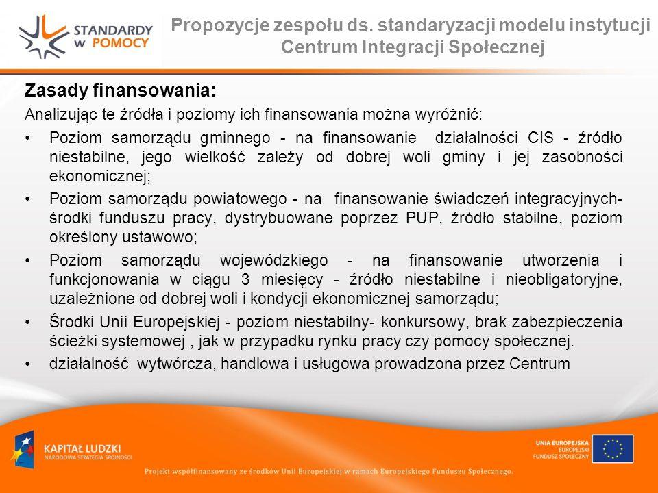 Propozycje zespołu ds. standaryzacji modelu instytucji Centrum Integracji Społecznej Zasady finansowania: Analizując te źródła i poziomy ich finansowa