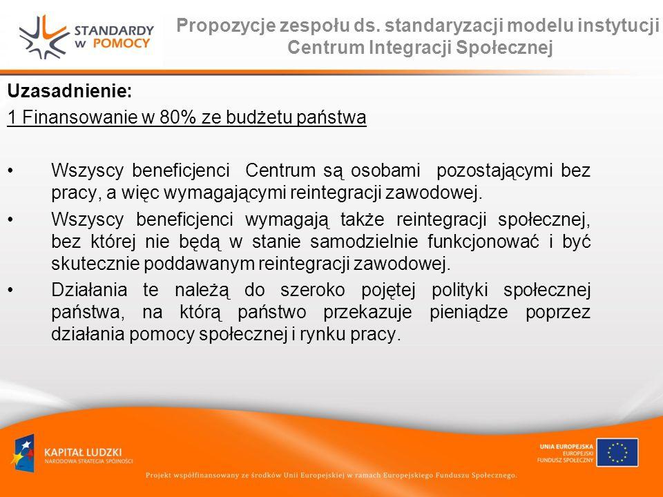 Propozycje zespołu ds. standaryzacji modelu instytucji Centrum Integracji Społecznej Uzasadnienie: 1 Finansowanie w 80% ze budżetu państwa Wszyscy ben