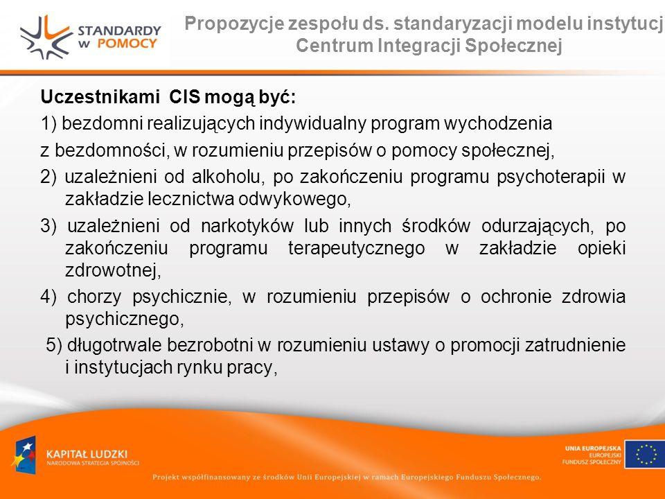 Propozycje zespołu ds. standaryzacji modelu instytucji Centrum Integracji Społecznej Uczestnikami CIS mogą być: 1) bezdomni realizujących indywidualny