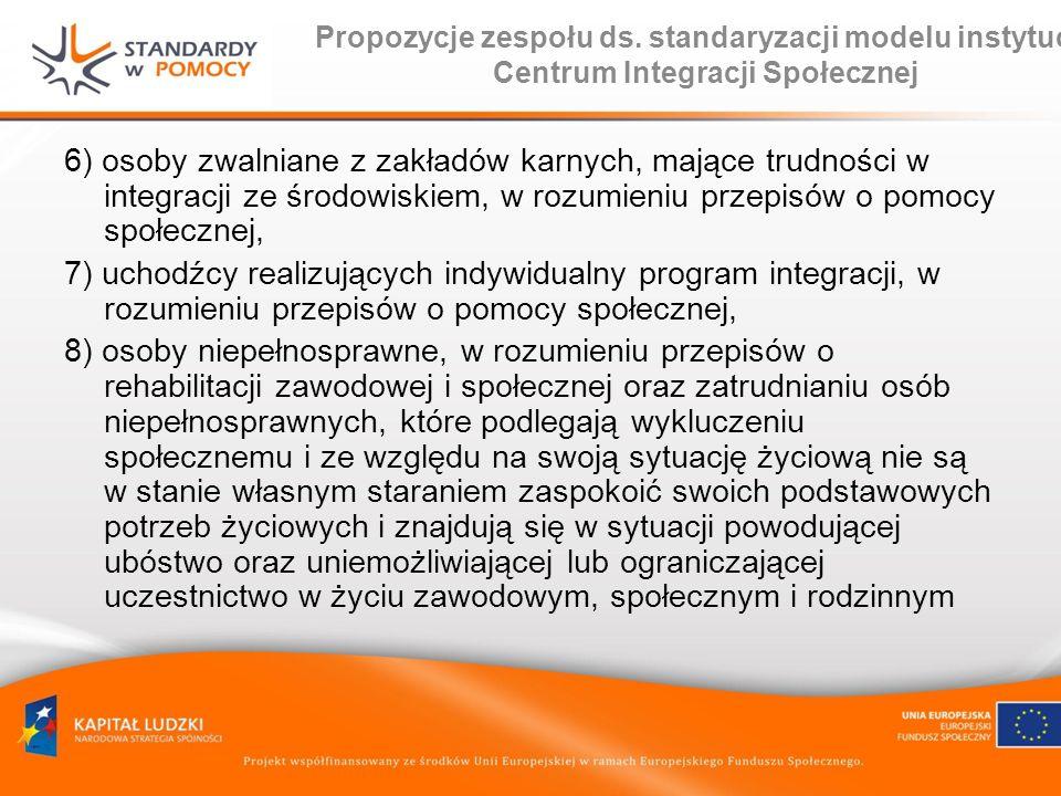 Propozycje zespołu ds. standaryzacji modelu instytucji Centrum Integracji Społecznej 6) osoby zwalniane z zakładów karnych, mające trudności w integra