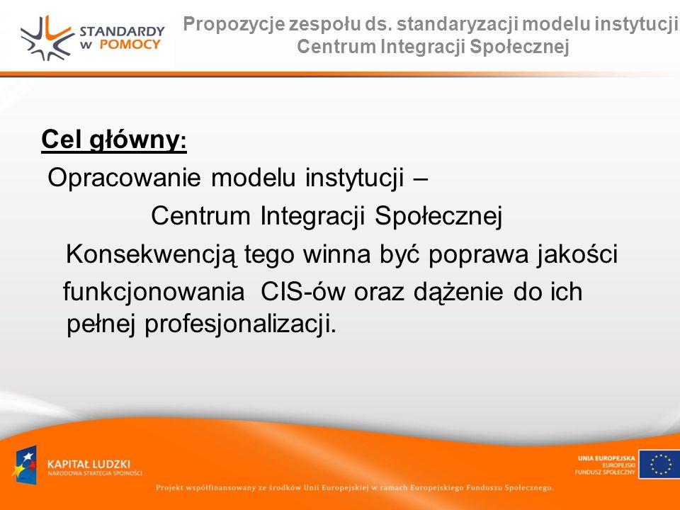 Propozycje zespołu ds. standaryzacji modelu instytucji Centrum Integracji Społecznej Cel główny : Opracowanie modelu instytucji – Centrum Integracji S