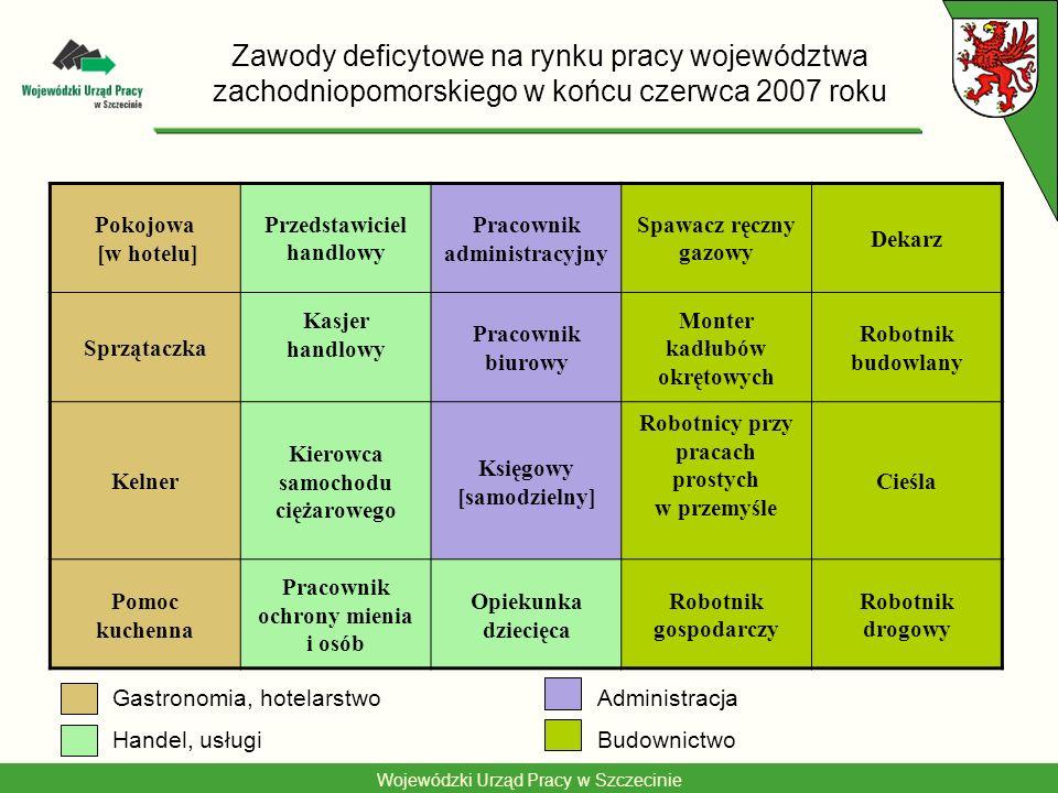 Wojewódzki Urząd Pracy w Szczecinie Zawody deficytowe na rynku pracy województwa zachodniopomorskiego w końcu czerwca 2007 roku Pokojowa [w hotelu] Pr