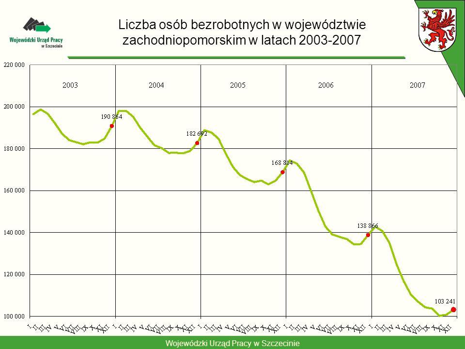 Wojewódzki Urząd Pracy w Szczecinie Liczba ofert pracy w województwie zachodniopomorskim w latach 2002-2007 29 550 54 458 71 063 73 625 41 596 49 407