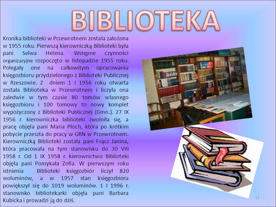 Kronika biblioteki w Przewrotnem została założona w 1955 roku. Pierwszą kierowniczką Biblioteki była pani Selwa Helena. Wstępne czynności organizacyjn