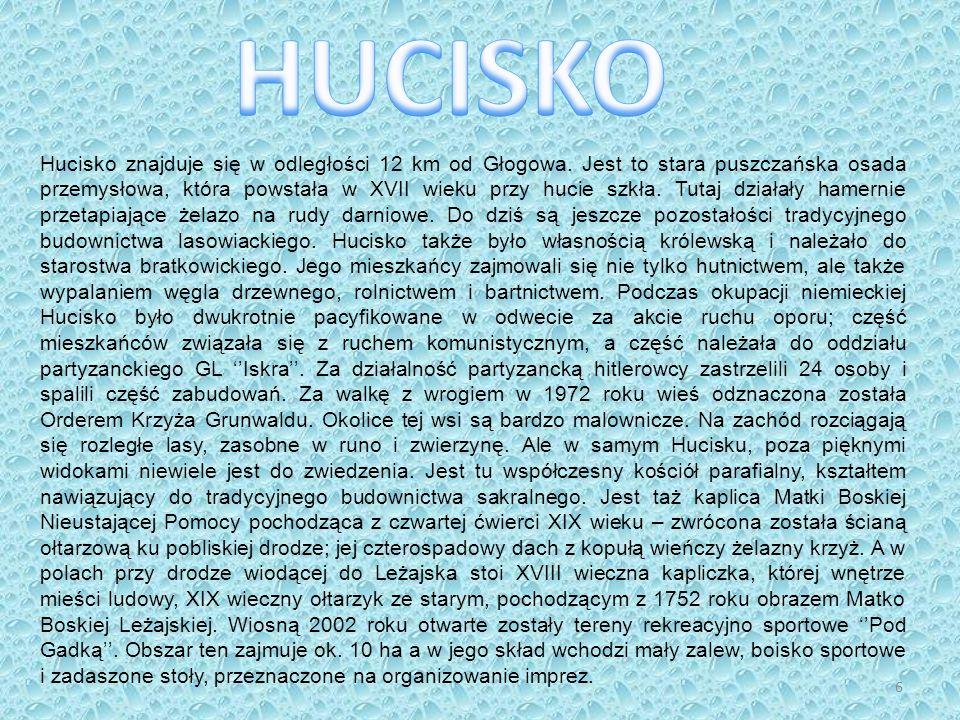 Hucisko znajduje się w odległości 12 km od Głogowa. Jest to stara puszczańska osada przemysłowa, która powstała w XVII wieku przy hucie szkła. Tutaj d