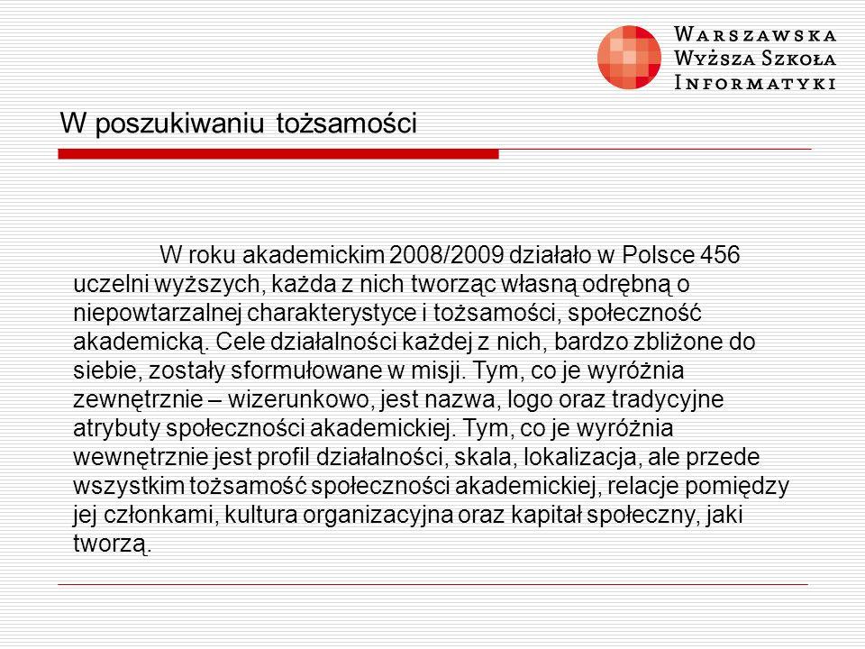 W poszukiwaniu tożsamości W roku akademickim 2008/2009 działało w Polsce 456 uczelni wyższych, każda z nich tworząc własną odrębną o niepowtarzalnej c
