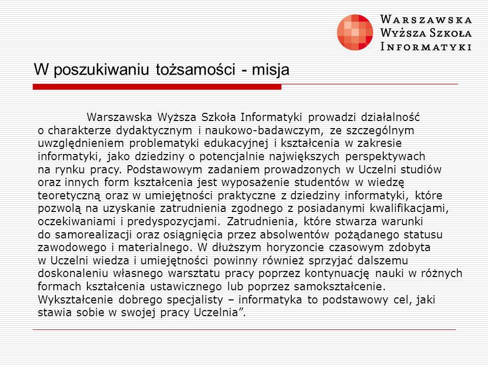 W poszukiwaniu tożsamości - misja Warszawska Wyższa Szkoła Informatyki prowadzi działalność o charakterze dydaktycznym i naukowo-badawczym, ze szczegó