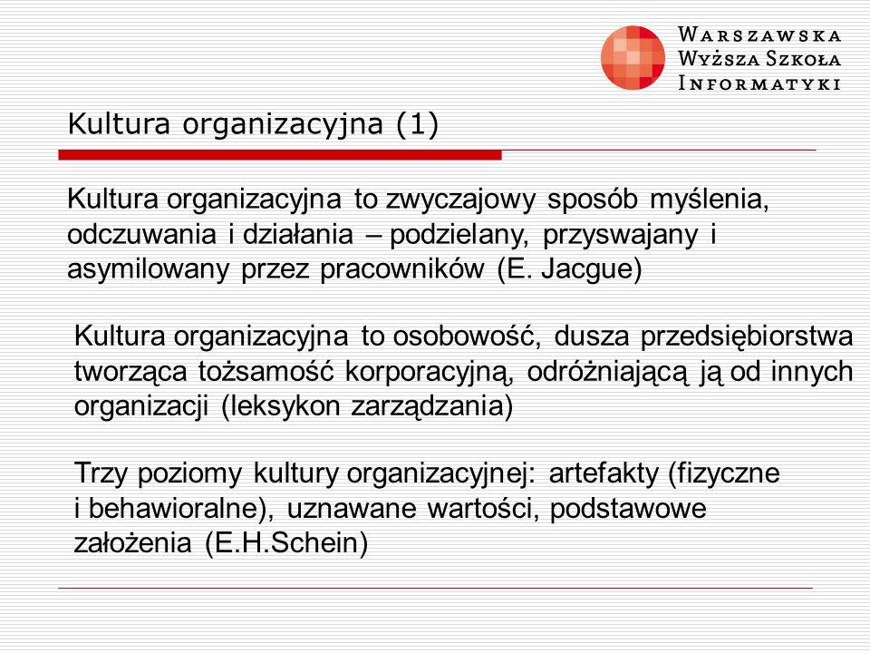 Kultura organizacyjna (1) Kultura organizacyjna to zwyczajowy sposób myślenia, odczuwania i działania – podzielany, przyswajany i asymilowany przez pr