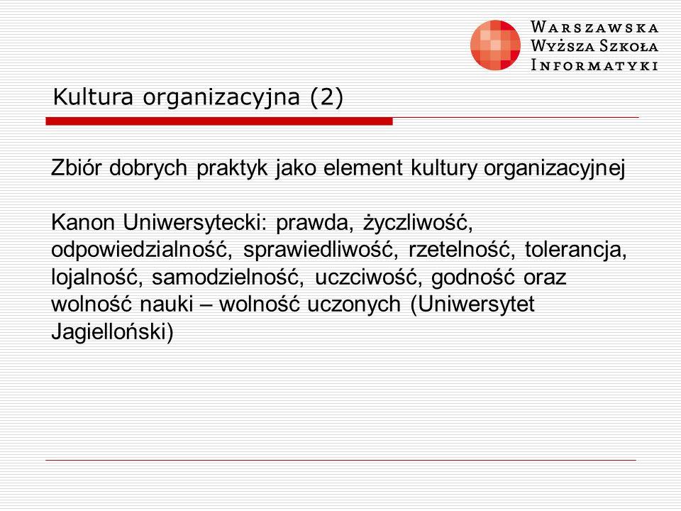 Kultura organizacyjna (2) Zbiór dobrych praktyk jako element kultury organizacyjnej Kanon Uniwersytecki: prawda, życzliwość, odpowiedzialność, sprawie
