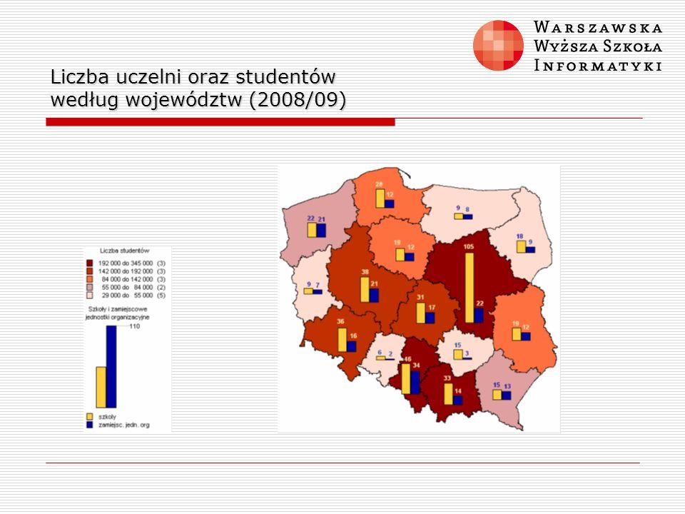 Liczba uczelni oraz studentów według województw (2008/09)