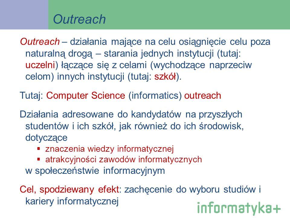 Outreach Outreach – działania mające na celu osiągnięcie celu poza naturalną drogą – starania jednych instytucji (tutaj: uczelni) łączące się z celami