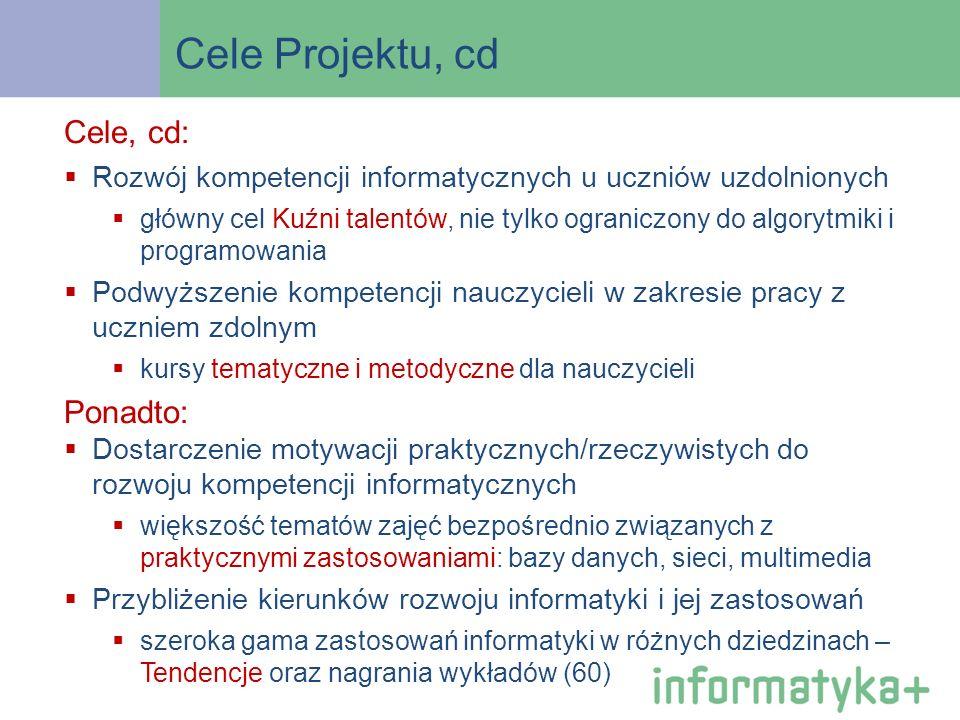 Cele Projektu, cd Cele, cd: Rozwój kompetencji informatycznych u uczniów uzdolnionych główny cel Kuźni talentów, nie tylko ograniczony do algorytmiki