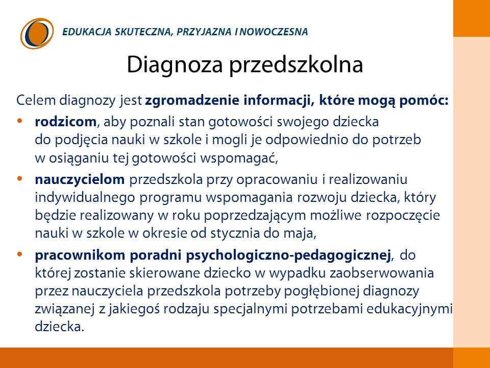 EDUKACJA SKUTECZNA, PRZYJAZNA I NOWOCZESNA Diagnoza przedszkolna Celem diagnozy jest zgromadzenie informacji, które mogą pomóc: rodzicom, aby poznali
