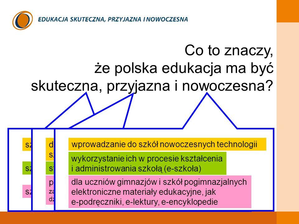 EDUKACJA SKUTECZNA, PRZYJAZNA I NOWOCZESNA Co to znaczy, że polska edukacja ma być skuteczna, przyjazna i nowoczesna? szkoła gwarantująca konkretne re
