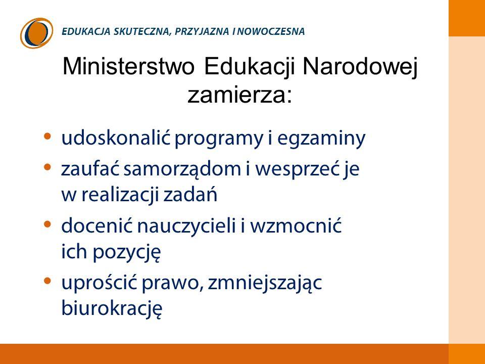 EDUKACJA SKUTECZNA, PRZYJAZNA I NOWOCZESNA Ministerstwo Edukacji Narodowej zamierza: udoskonalić programy i egzaminy zaufać samorządom i wesprzeć je w