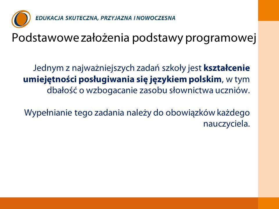 EDUKACJA SKUTECZNA, PRZYJAZNA I NOWOCZESNA Jednym z najważniejszych zadań szkoły jest kształcenie umiejętności posługiwania się językiem polskim, w ty