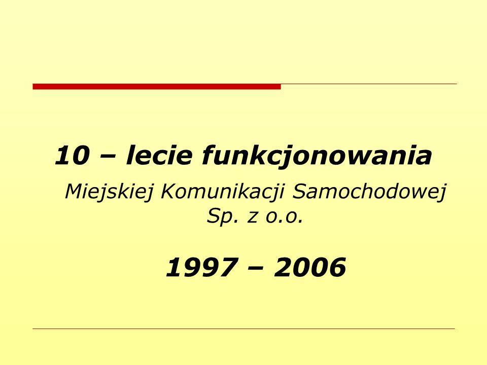 10 – lecie funkcjonowania Miejskiej Komunikacji Samochodowej Sp. z o.o. 1997 – 2006