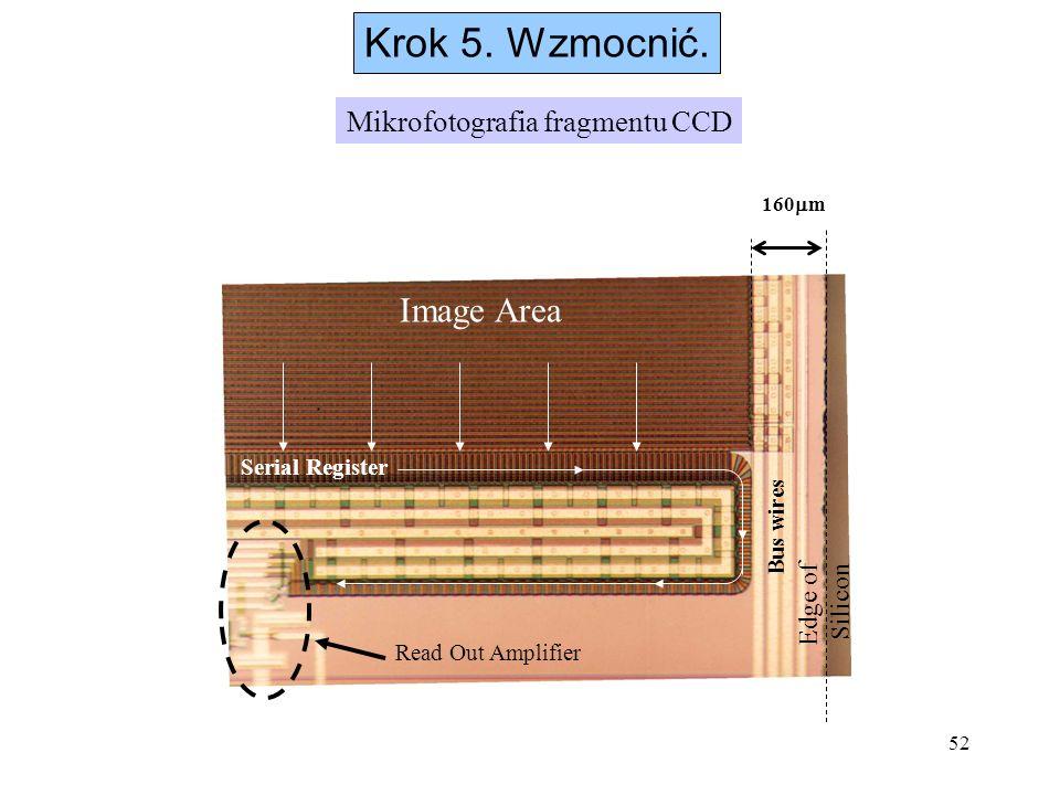 52 Krok 5. Wzmocnić. 160 m Edge of Silicon Image Area Serial Register Read Out Amplifier Bus wires Mikrofotografia fragmentu CCD