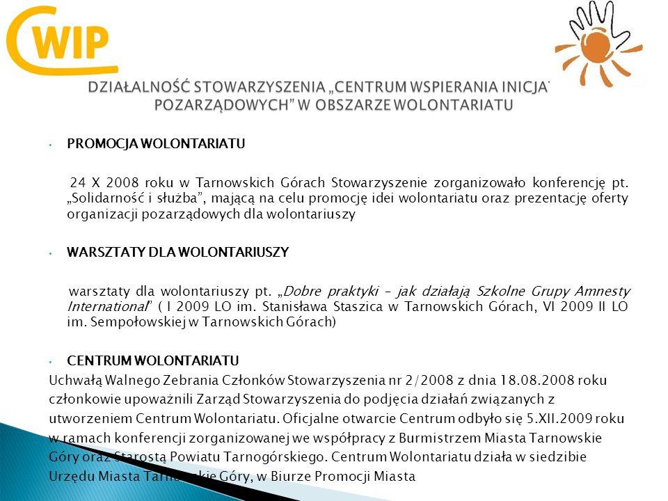 PROMOCJA WOLONTARIATU 24 X 2008 roku w Tarnowskich Górach Stowarzyszenie zorganizowało konferencję pt.