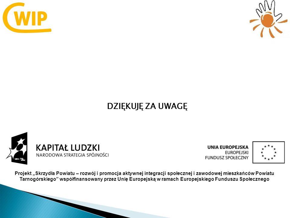 DZIĘKUJĘ ZA UWAGĘ Projekt Skrzydła Powiatu – rozwój i promocja aktywnej integracji społecznej i zawodowej mieszkańców Powiatu Tarnogórskiego współfinansowany przez Unię Europejską w ramach Europejskiego Funduszu Społecznego