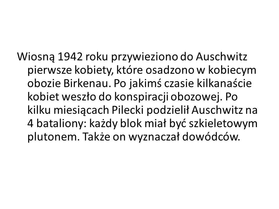 Wiosną 1942 roku przywieziono do Auschwitz pierwsze kobiety, które osadzono w kobiecym obozie Birkenau. Po jakimś czasie kilkanaście kobiet weszło do