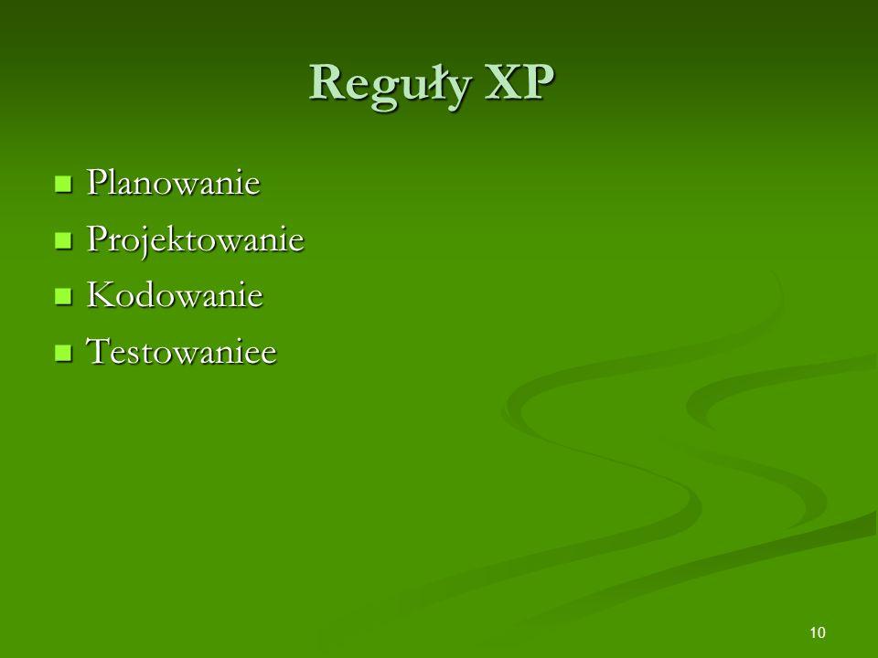 10 Reguły XP Planowanie Planowanie Projektowanie Projektowanie Kodowanie Kodowanie Testowaniee Testowaniee