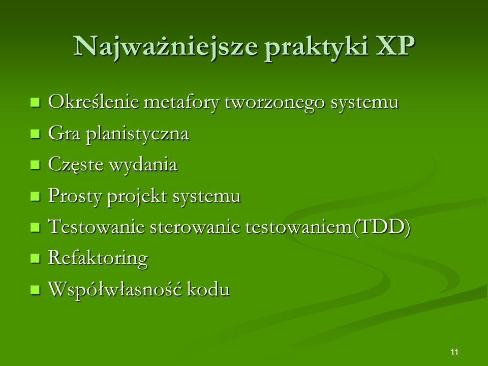 11 Najważniejsze praktyki XP Określenie metafory tworzonego systemu Określenie metafory tworzonego systemu Gra planistyczna Gra planistyczna Częste wy