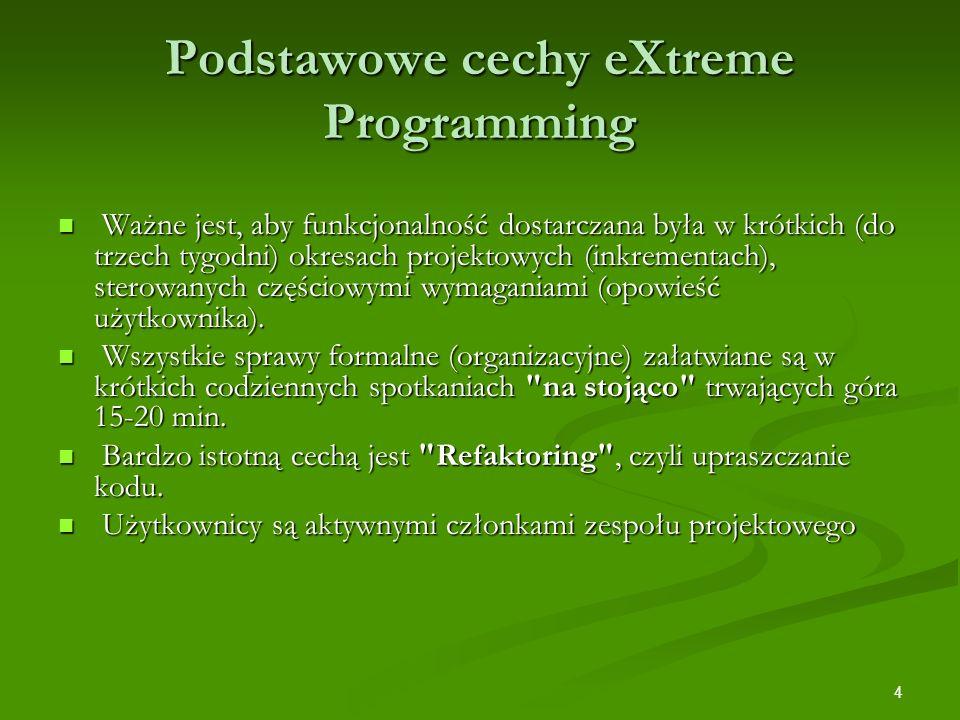 4 Podstawowe cechy eXtreme Programming Ważne jest, aby funkcjonalność dostarczana była w krótkich (do trzech tygodni) okresach projektowych (inkrement