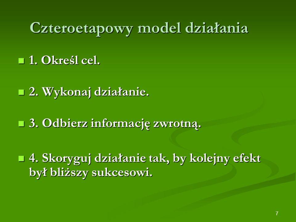 7 Czteroetapowy model działania 1. Określ cel. 1. Określ cel. 2. Wykonaj działanie. 2. Wykonaj działanie. 3. Odbierz informację zwrotną. 3. Odbierz in
