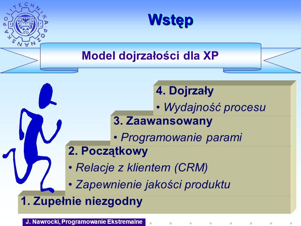 J. Nawrocki, Programowanie Ekstremalne WstępWstęp 1. Zupełnie niezgodny Model dojrzałości dla XP 2. Początkowy Relacje z klientem (CRM) Zapewnienie ja