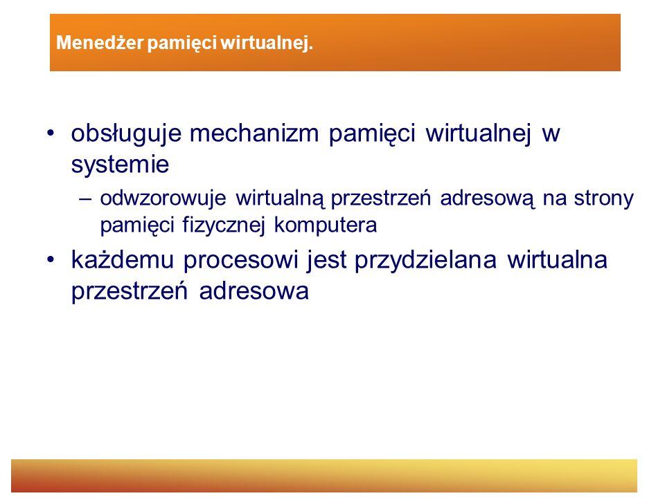 Menedżer pamięci wirtualnej. obsługuje mechanizm pamięci wirtualnej w systemie –odwzorowuje wirtualną przestrzeń adresową na strony pamięci fizycznej