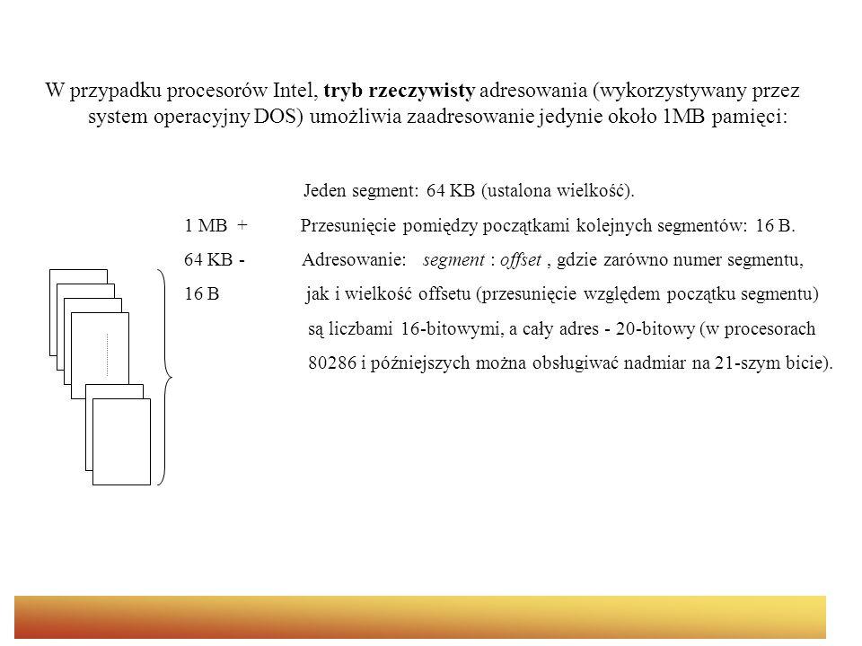 W przypadku procesorów Intel, tryb rzeczywisty adresowania (wykorzystywany przez system operacyjny DOS) umożliwia zaadresowanie jedynie około 1MB pami