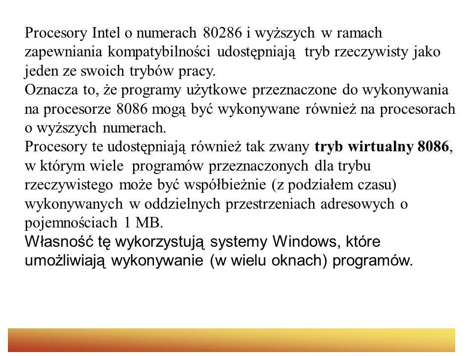 Adresowanie pamięci wirtualnej Katalog stronic Oddzielny dla każdego procesu do 1024 PDE PDE (4bajty) PDE Tablica stronic Do 1024 PTE PTE Tablica stronic PTE Tablica stronic PTE Ramka stronic 1 2 3 4 5 6 7 8 ….4096 bajtów 10 bitów 12 bitów