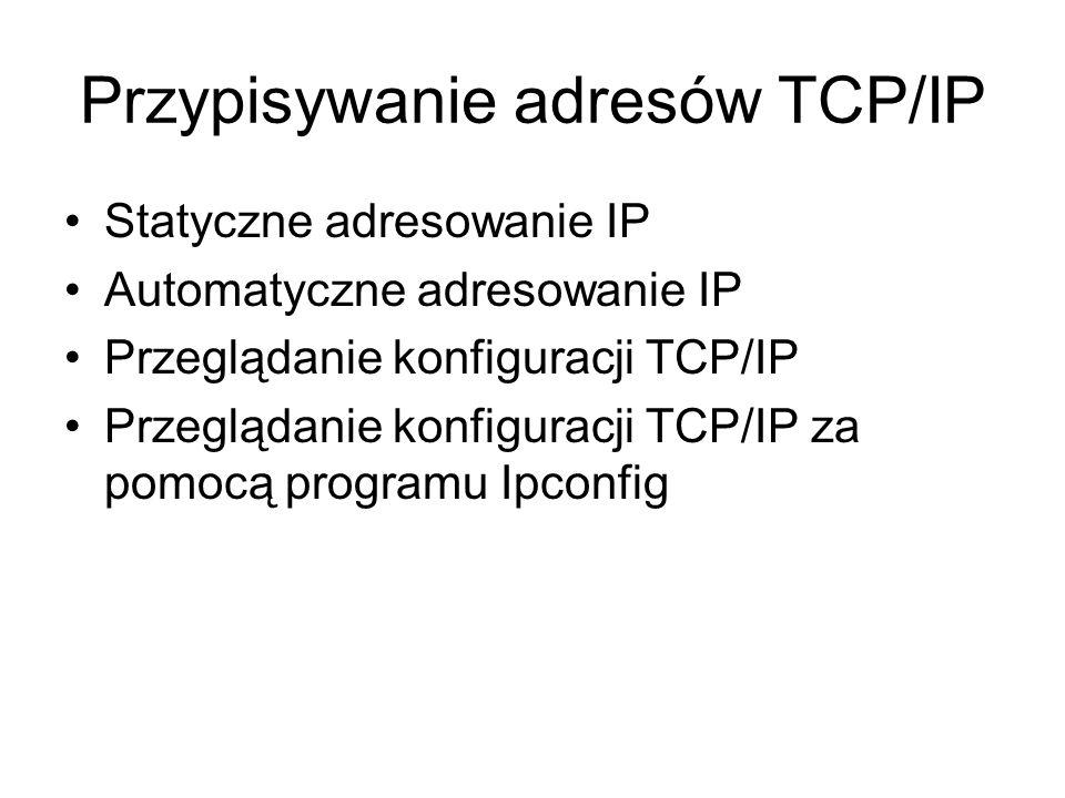 Statyczne adresowanie IP Automatyczne adresowanie IP Przeglądanie konfiguracji TCP/IP Przeglądanie konfiguracji TCP/IP za pomocą programu Ipconfig Przypisywanie adresów TCP/IP