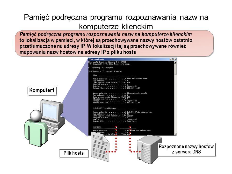 Pamięć podręczna programu rozpoznawania nazw na komputerze klienckim Pamięć podręczna programu rozpoznawania nazw na komputerze klienckim to lokalizacja w pamięci, w której są przechowywane nazwy hostów ostatnio przetłumaczone na adresy IP.