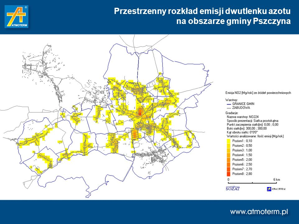 Przestrzenny rozkład emisji dwutlenku azotu na obszarze gminy Pszczyna