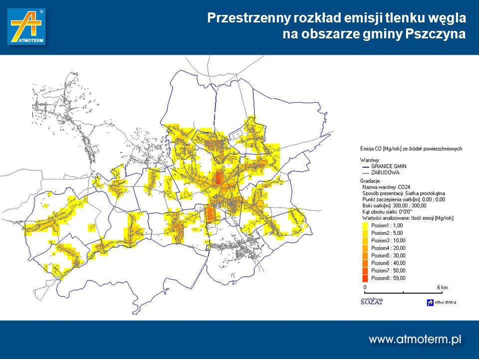 Przestrzenny rozkład emisji tlenku węgla na obszarze gminy Pszczyna