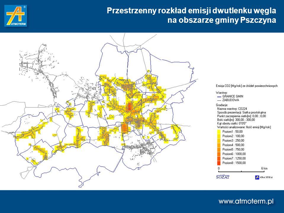 Przestrzenny rozkład emisji dwutlenku węgla na obszarze gminy Pszczyna