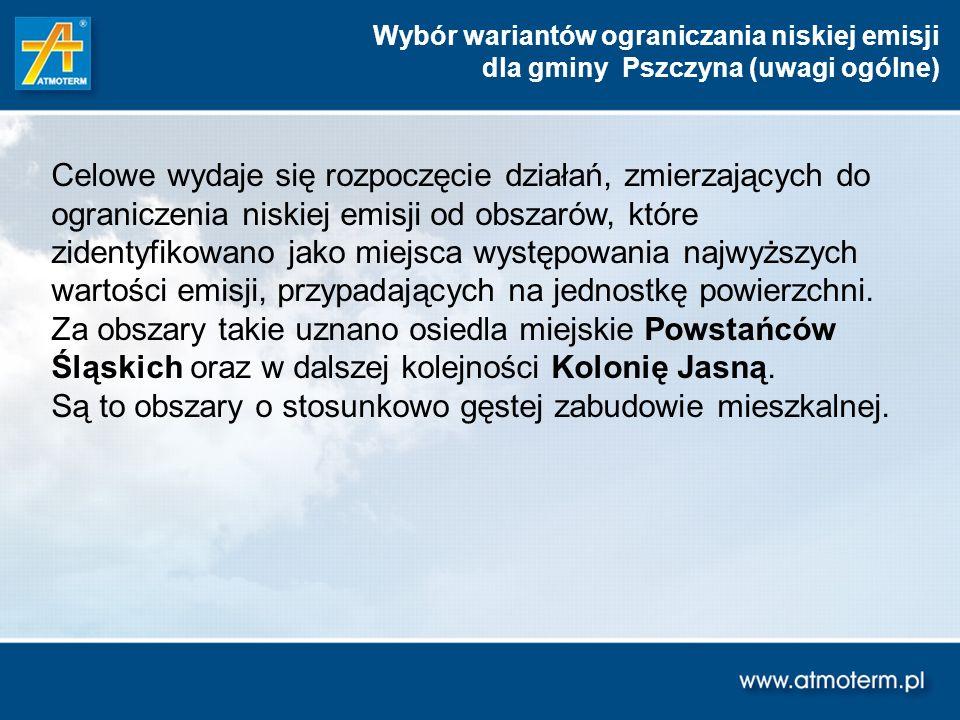 Wybór wariantów ograniczania niskiej emisji dla gminy Pszczyna (uwagi ogólne) Celowe wydaje się rozpoczęcie działań, zmierzających do ograniczenia nis