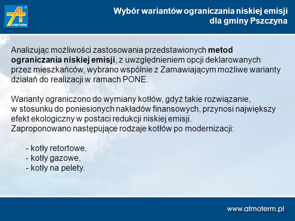 Wybór wariantów ograniczania niskiej emisji dla gminy Pszczyna Analizując możliwości zastosowania przedstawionych metod ograniczania niskiej emisji, z