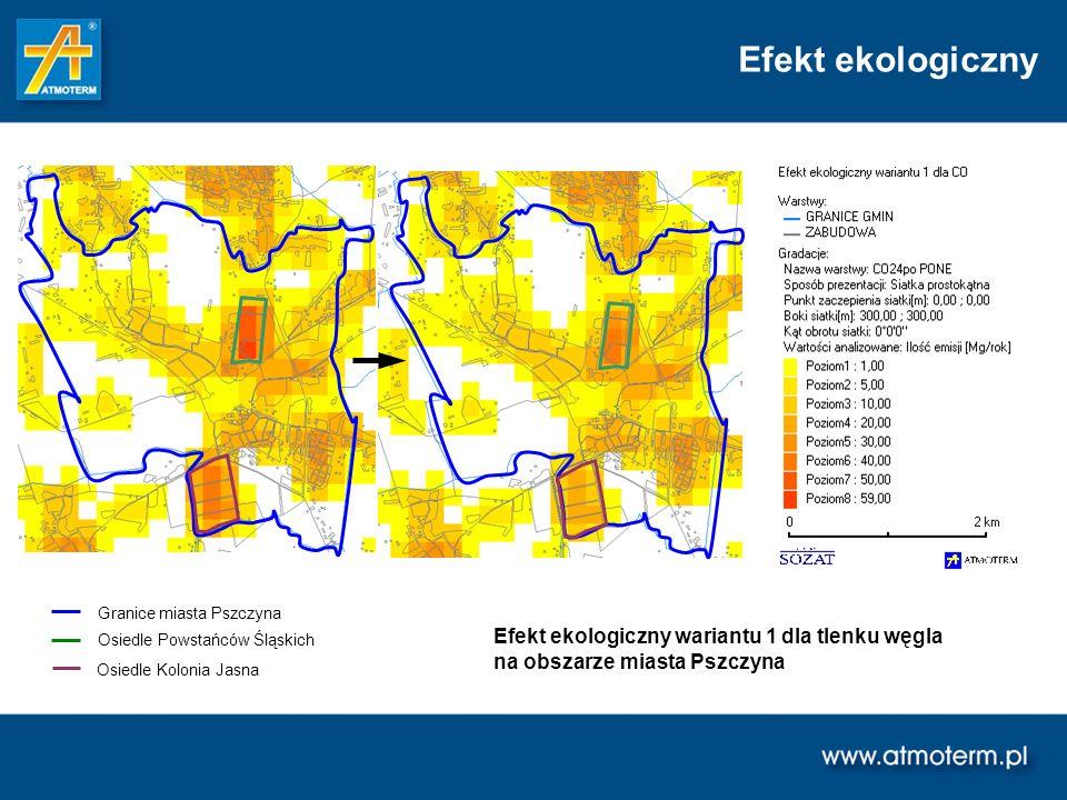 Efekt ekologiczny Granice miasta Pszczyna Osiedle Powstańców Śląskich Osiedle Kolonia Jasna Efekt ekologiczny wariantu 1 dla tlenku węgla na obszarze