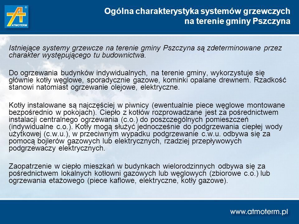 Istniejące systemy grzewcze na terenie gminy Pszczyna są zdeterminowane przez charakter występującego tu budownictwa. Do ogrzewania budynków indywidua