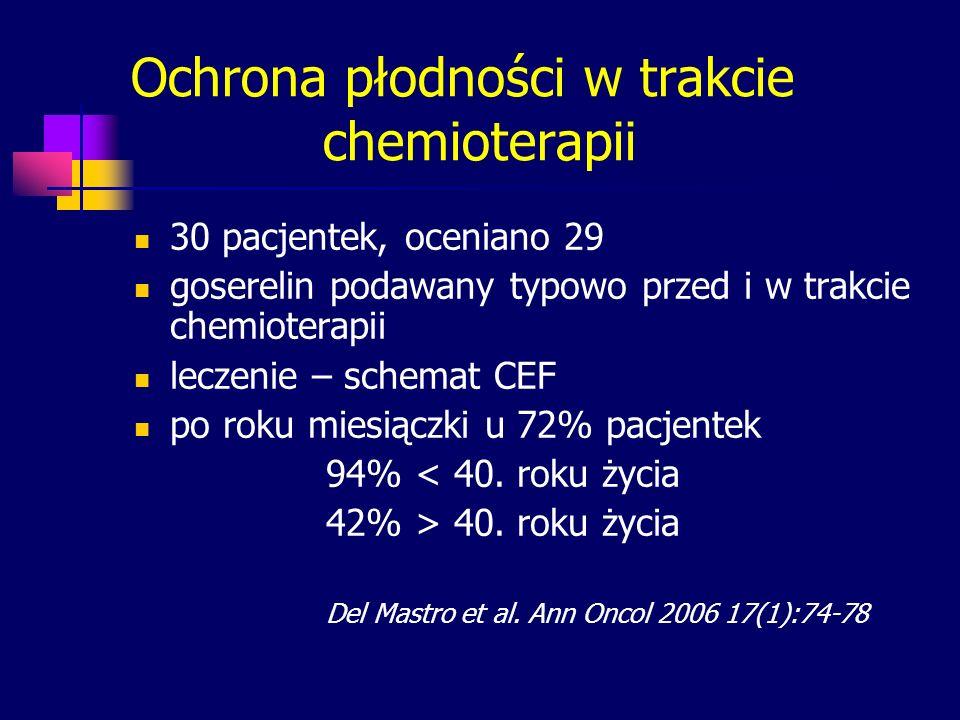 Ochrona płodności w trakcie chemioterapii 30 pacjentek, oceniano 29 goserelin podawany typowo przed i w trakcie chemioterapii leczenie – schemat CEF p