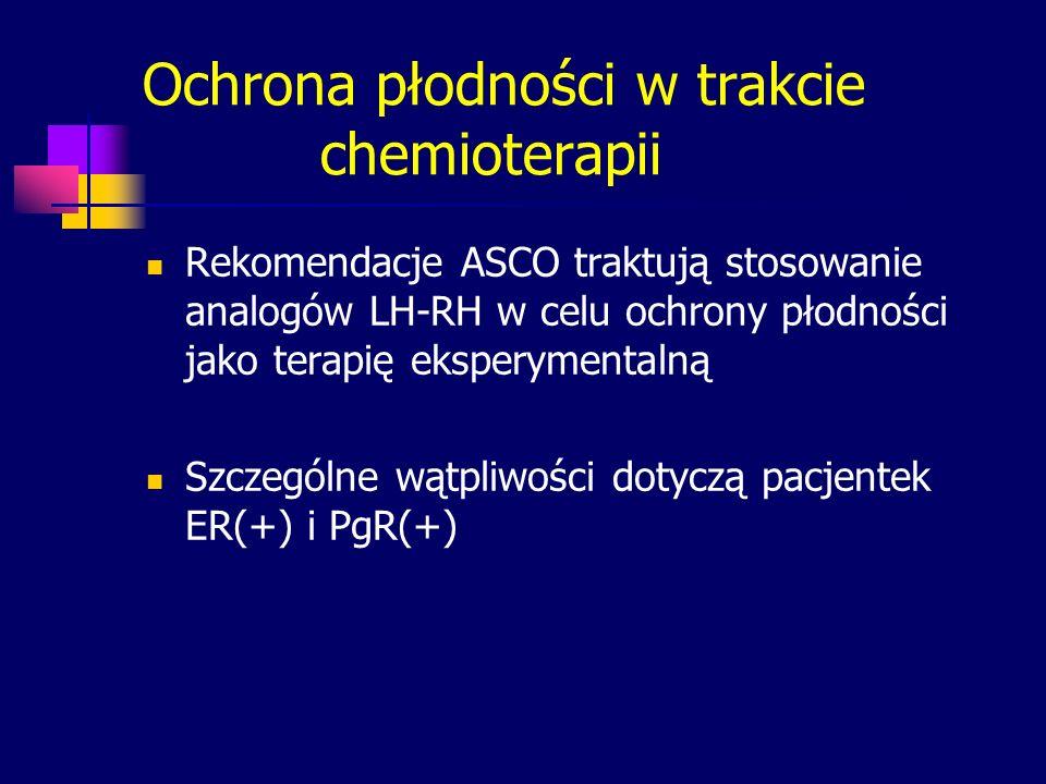 Ochrona płodności w trakcie chemioterapii Rekomendacje ASCO traktują stosowanie analogów LH-RH w celu ochrony płodności jako terapię eksperymentalną S